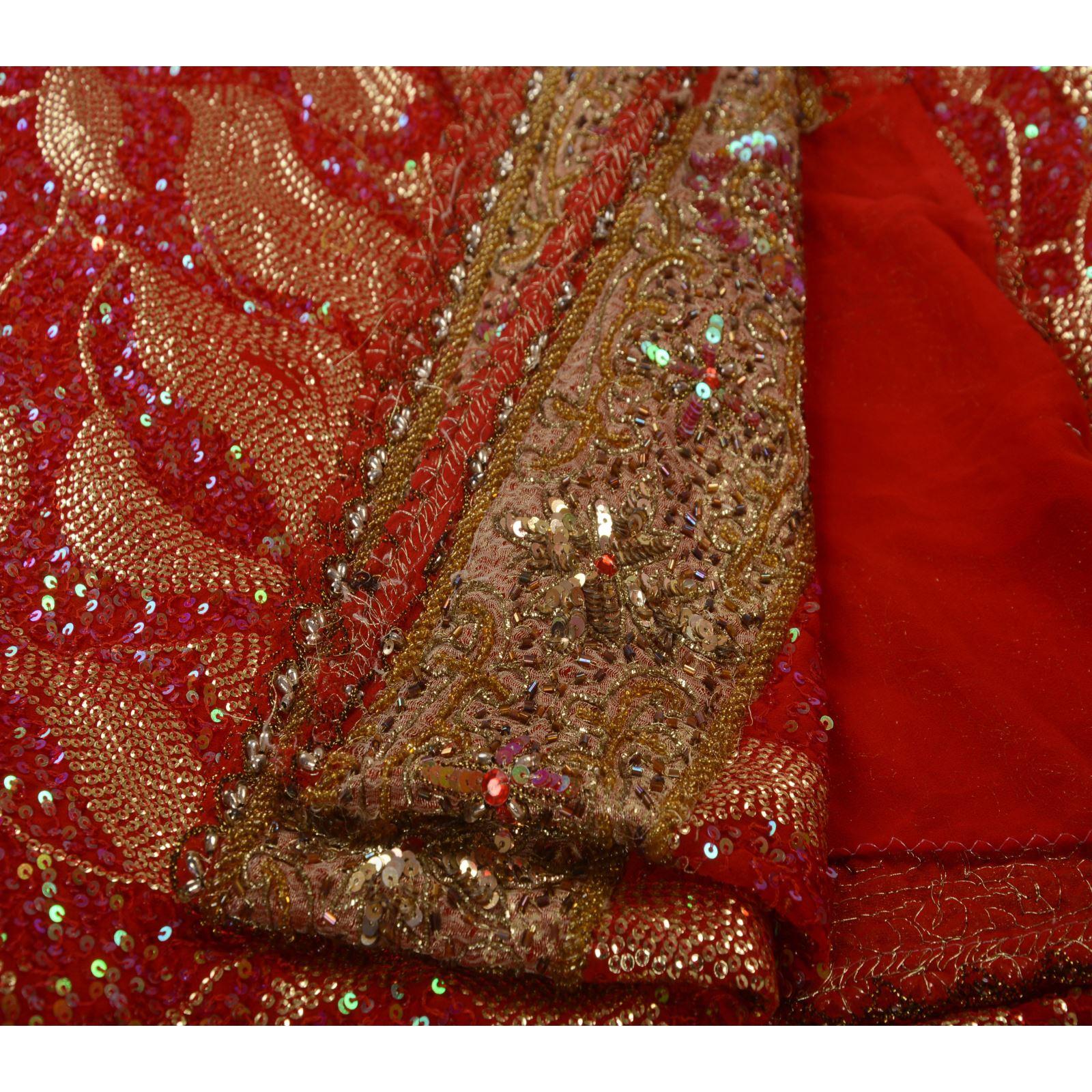 vintage sari beaded georgette fabric saree sequins
