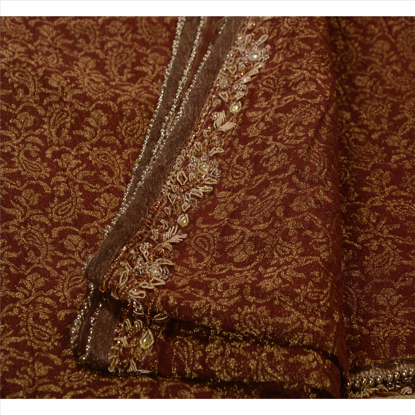 Antique vintage indian saree tissue hand embroidery woven