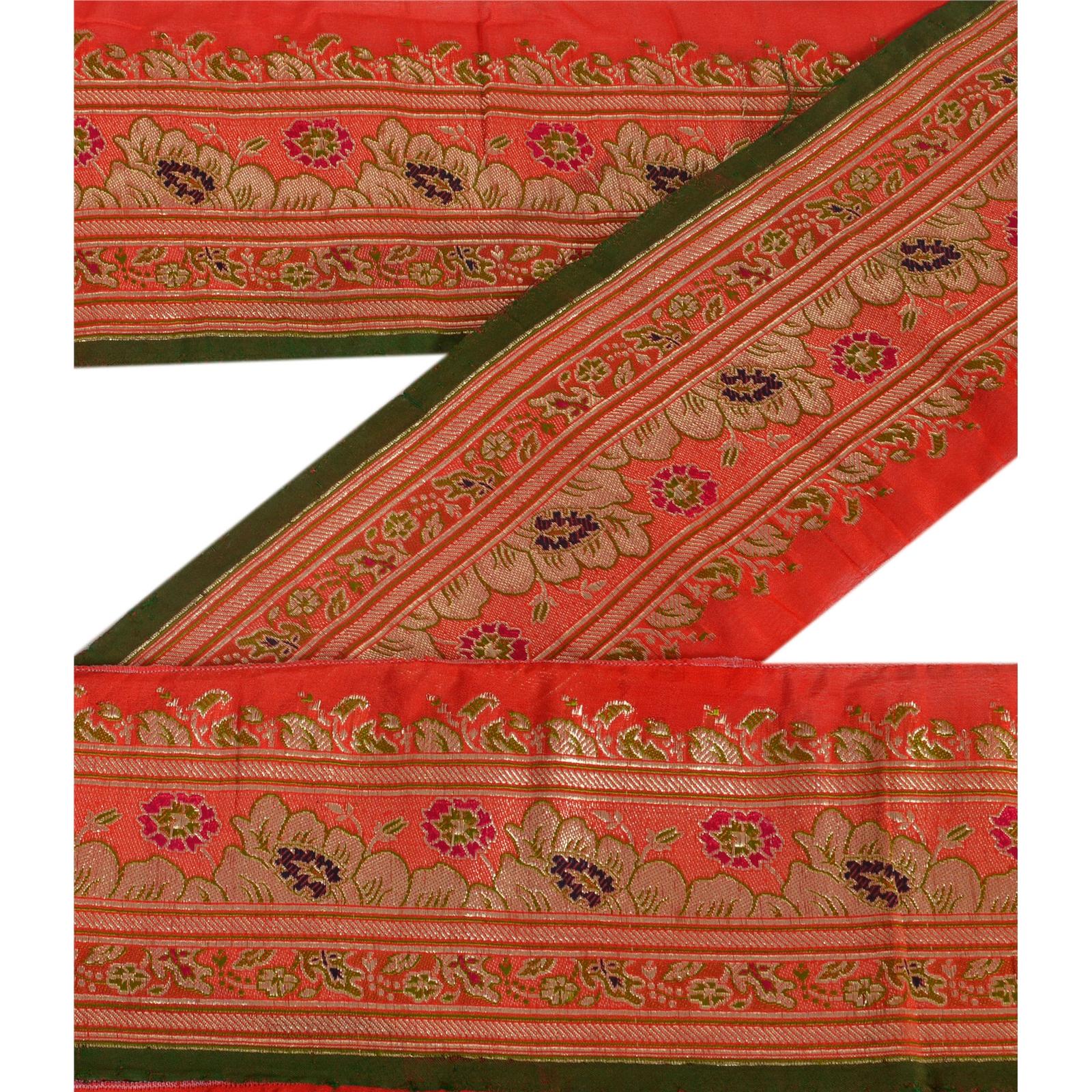 Sanskriti Vintage Sari Border Indian Craft Orange Trim Hand Beaded Ribbon Lace Crafts