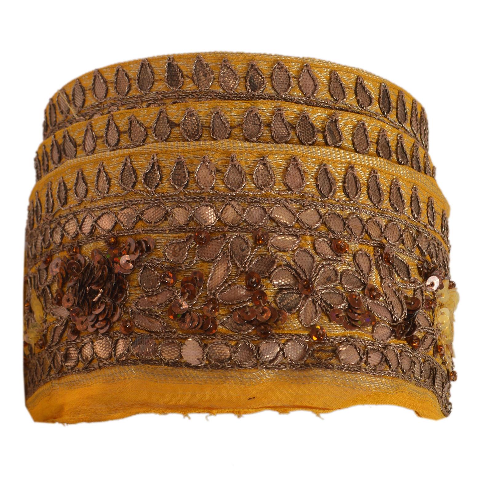 Trims Sanskriti Vintage Sari Border Craft Yellow Trim Hand Beaded Sewing Gota Lace Be Novel In Design