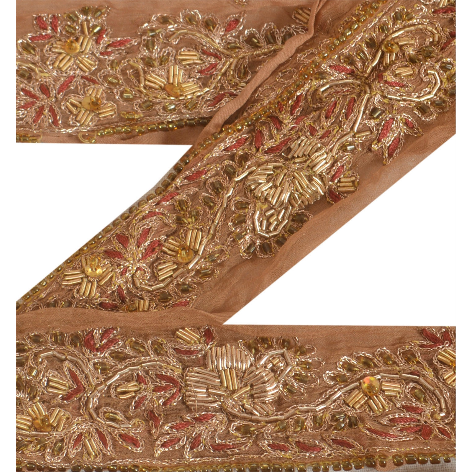 Linens & Textiles (pre-1930) Trims Sanskriti Vintage Sari Border Craft Brown Trim Hand Embroidered Sewing Lace
