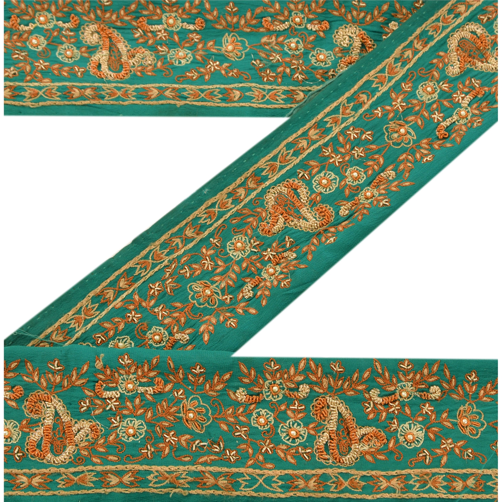 56820addb9 Details about Sanskriti Vintage Sari Border Indian Craft Green Trim Hand  Beaded Sewing Lace
