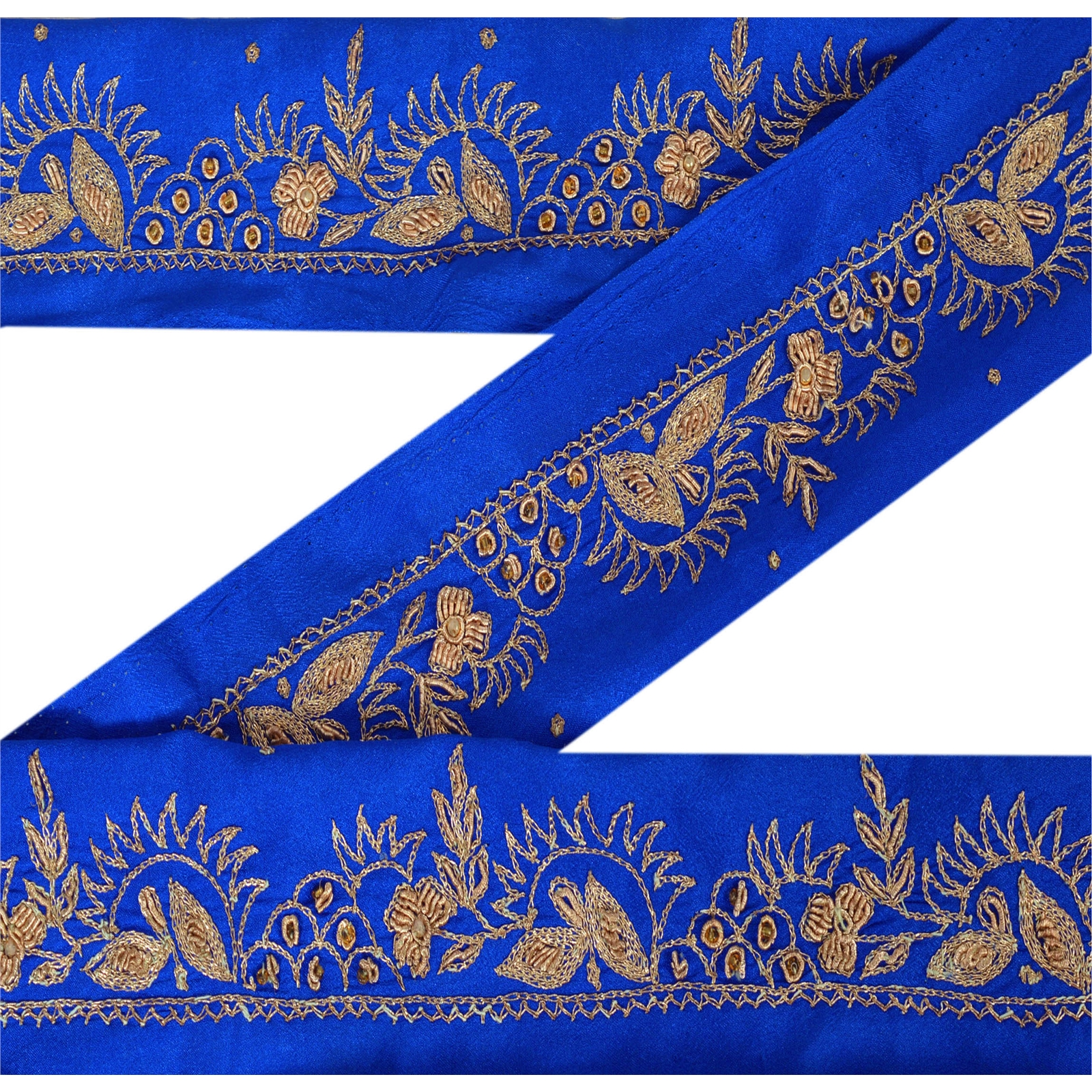 Vintage saree Border Indian Blue Craft Fabric Embroidered Sari Lace 1YD Trim