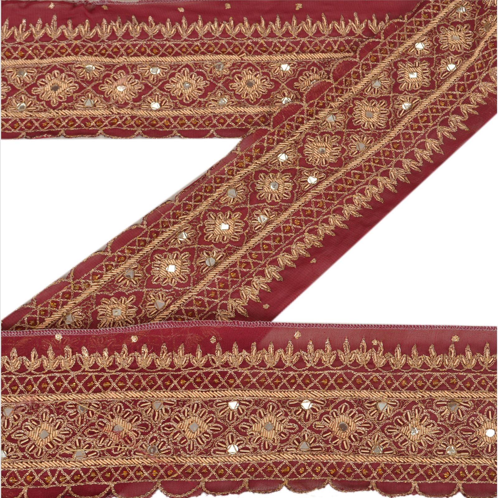 Lace, Crochet & Doilies Just Vintage Sari Border Antique Hand Beaded Indian Trim Sewing Maroon Lace Easy To Use