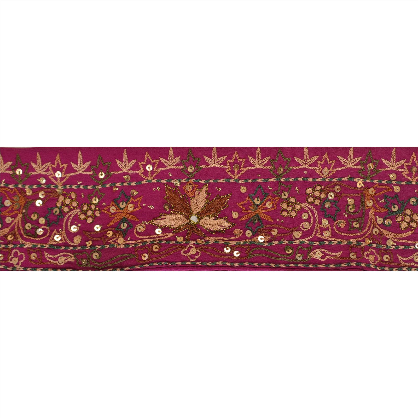 Sanskriti Vintage Sari Border Hand Beaded Craft Trim Sewing Purple Lace Modern And Elegant In Fashion Embellishments & Finishes