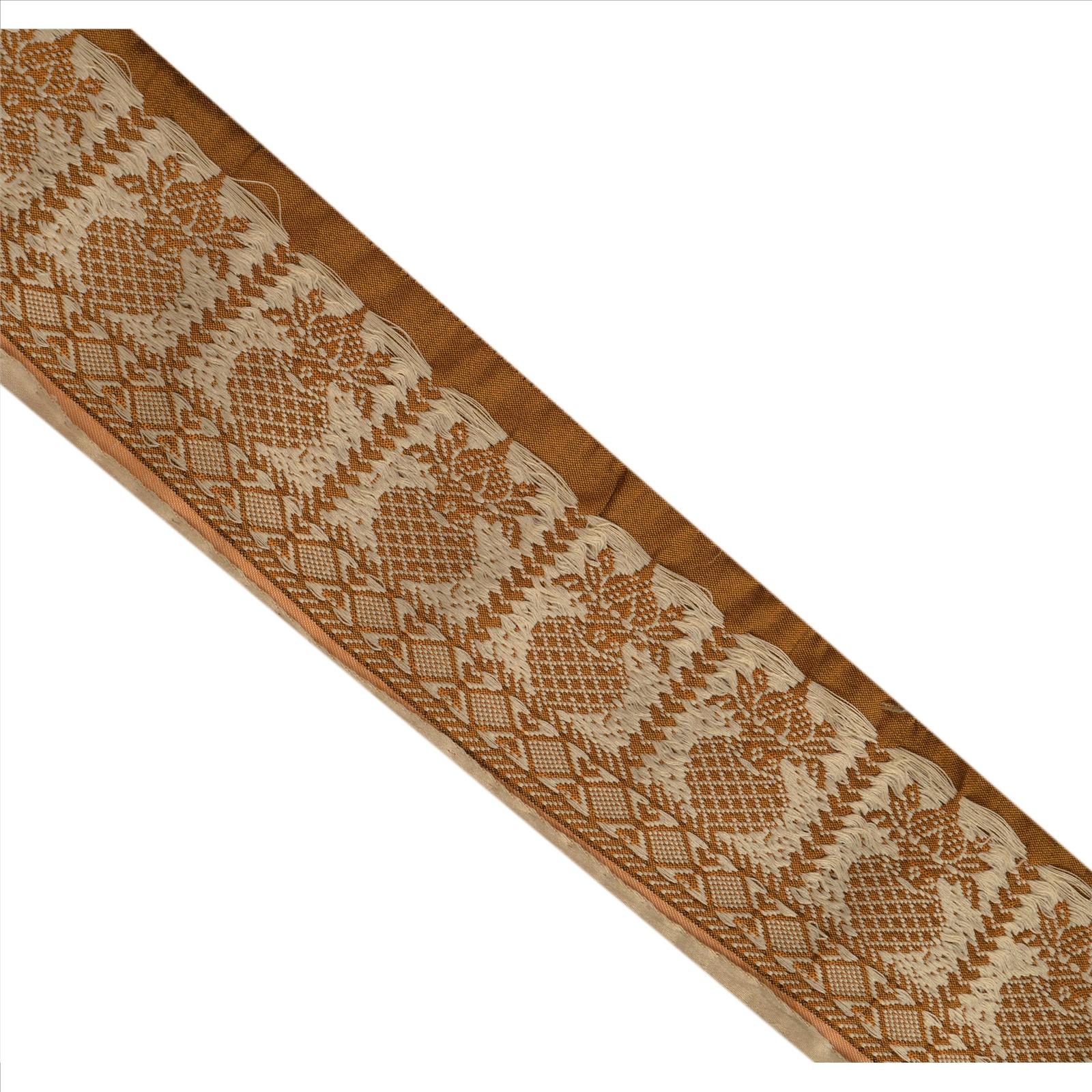 Vintage Sari Border Antique Embroidered Woven Trim Sewing Saffron Lace Trims