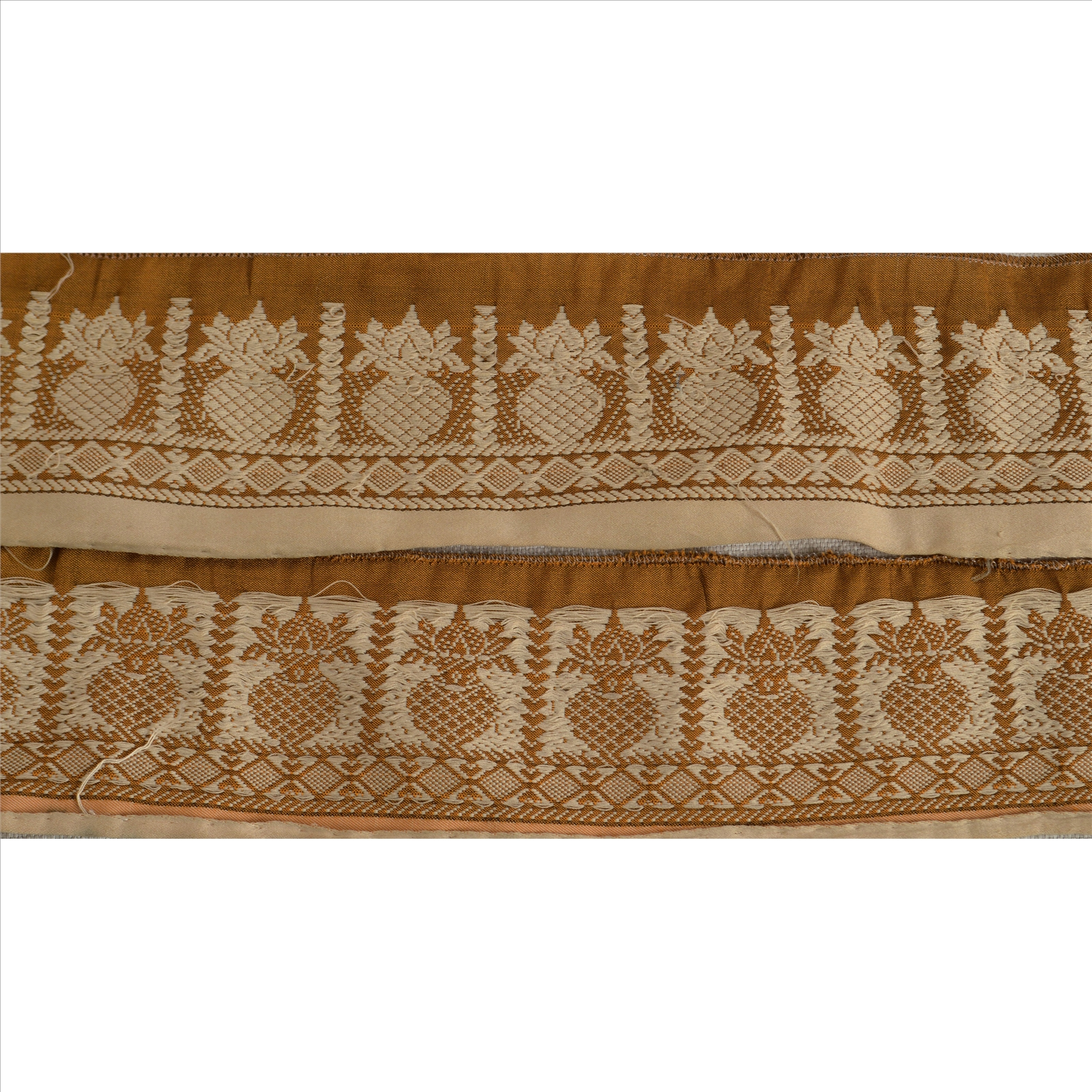 Linens & Textiles (pre-1930) Vintage Sari Border Antique Embroidered Woven Trim Sewing Saffron Lace