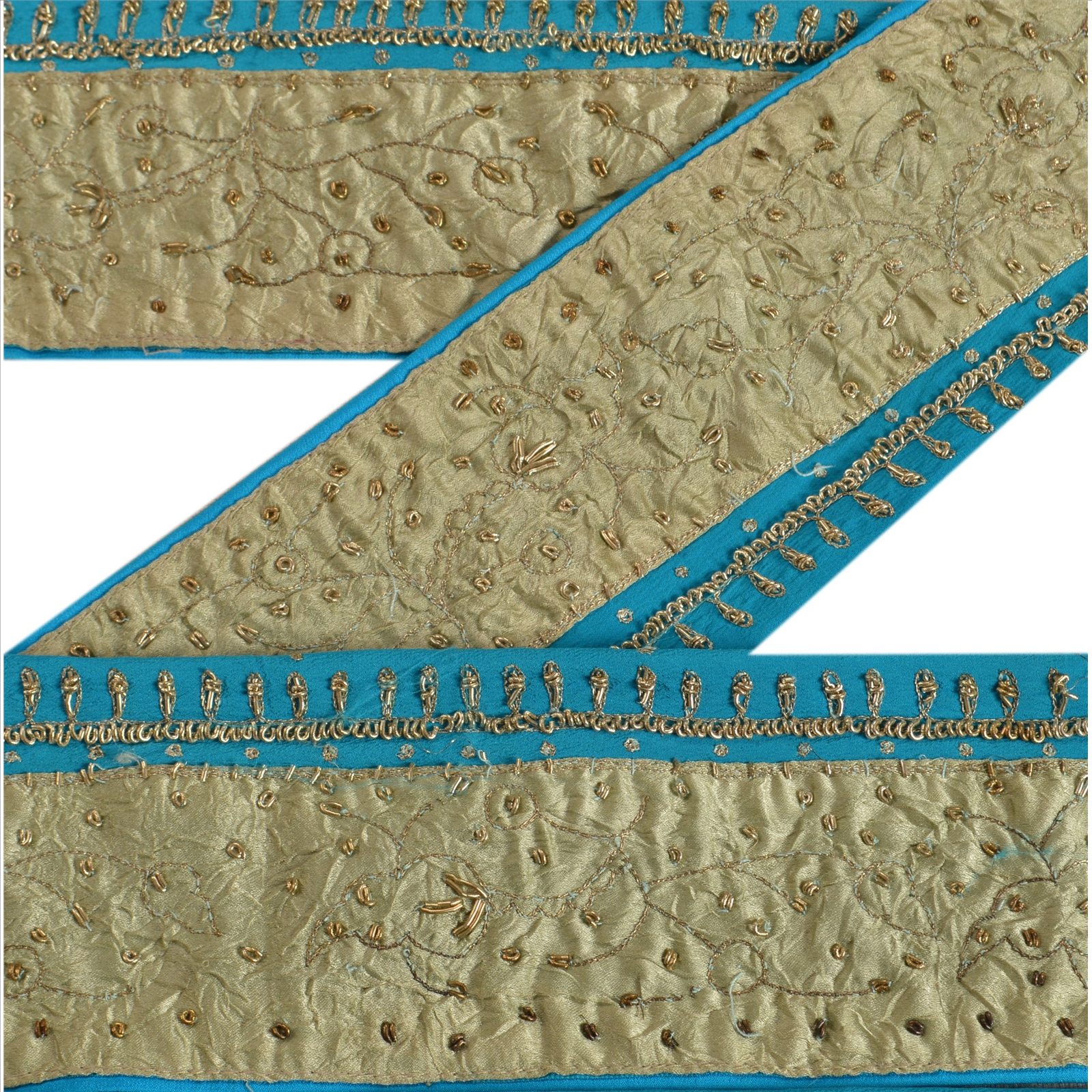 Trims Vintage Sari Border Antique Hand Embroidered Trim Sewing Blue Patch Lace