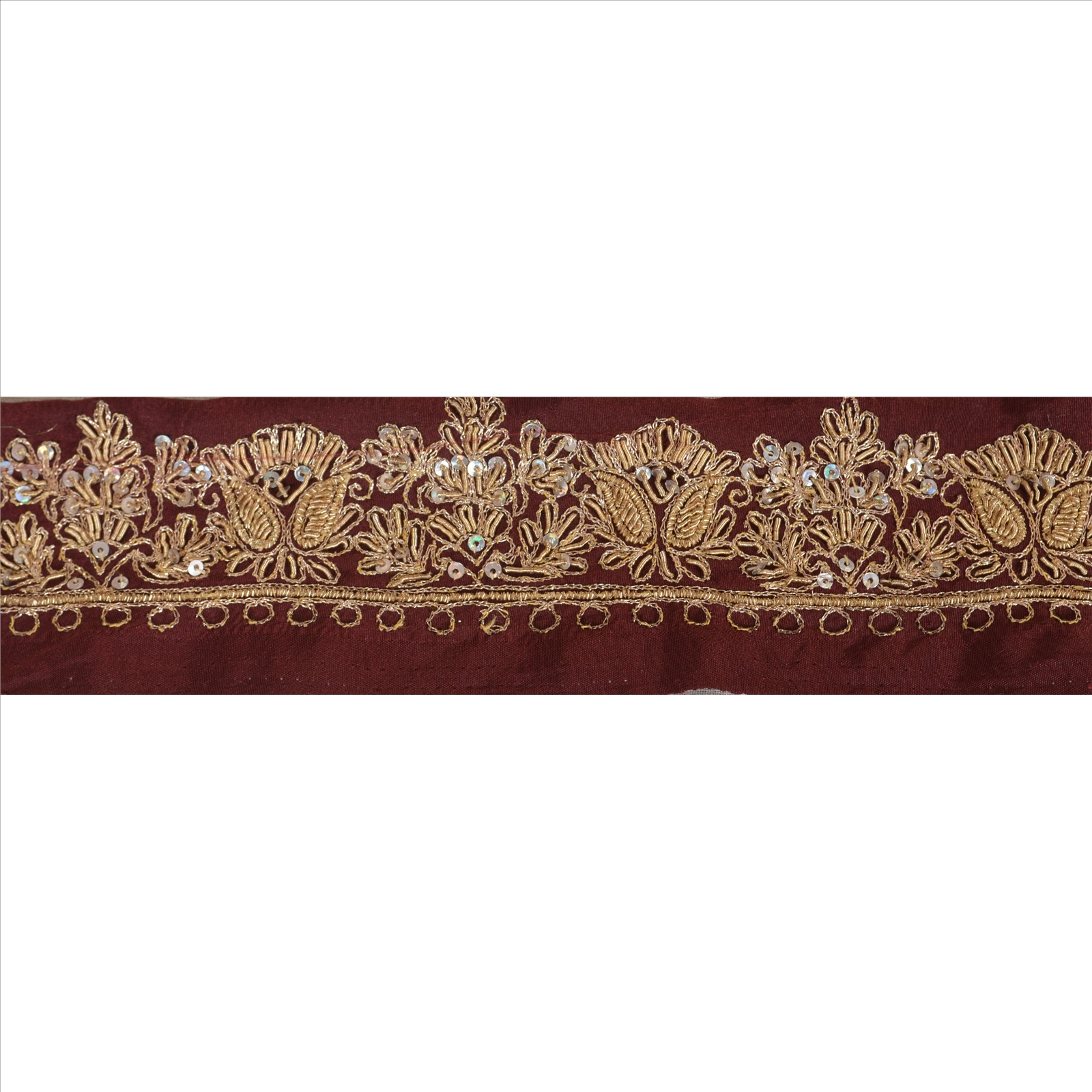 Just Vintage Sari Border Antique Hand Beaded Indian Trim Sewing Maroon Lace Easy To Use Lace, Crochet & Doilies