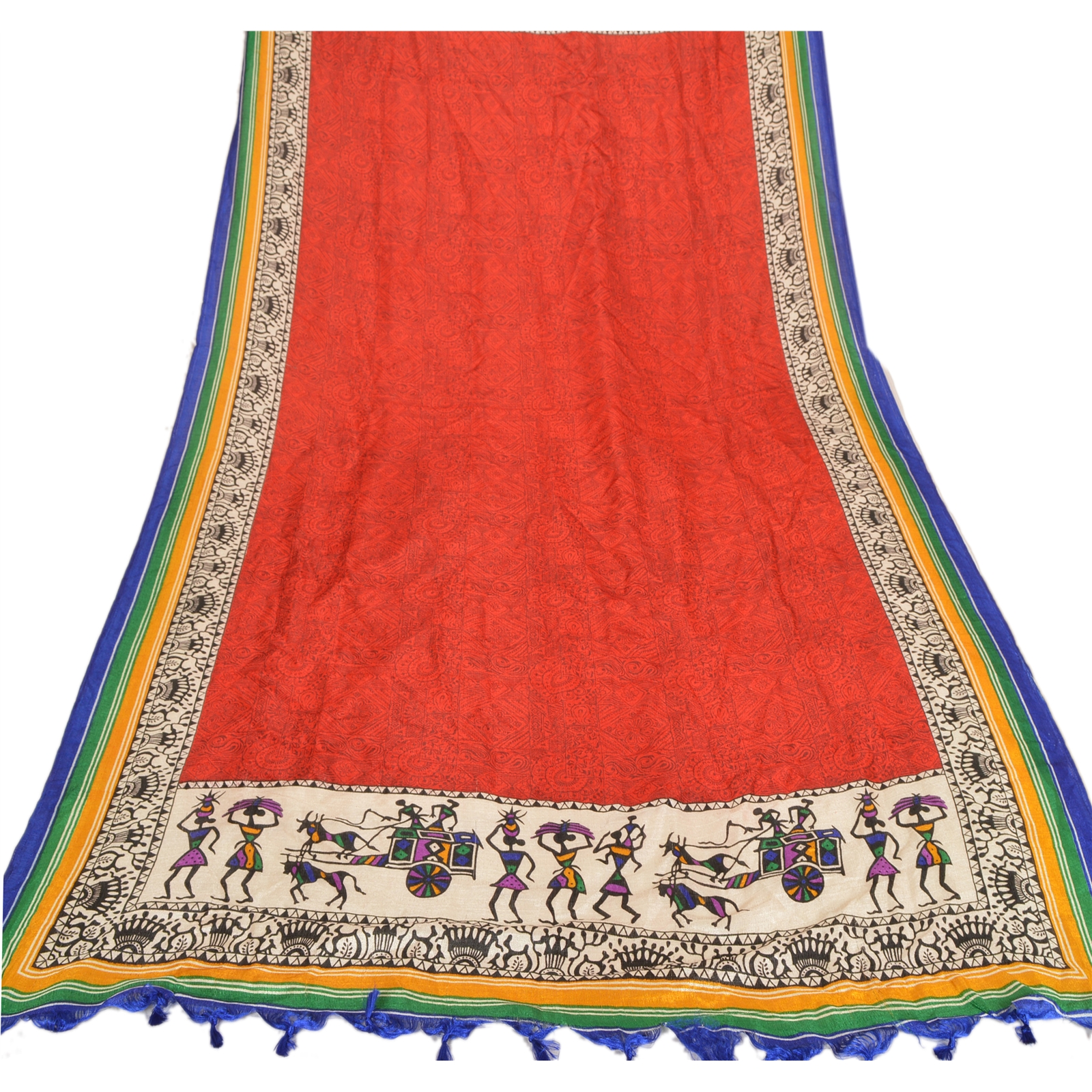 6ac40da7f7e Detalles acerca de Arte vintage dupatta larga estola TCW Seda Rojo Chal  Hijab warli Impreso- mostrar título original