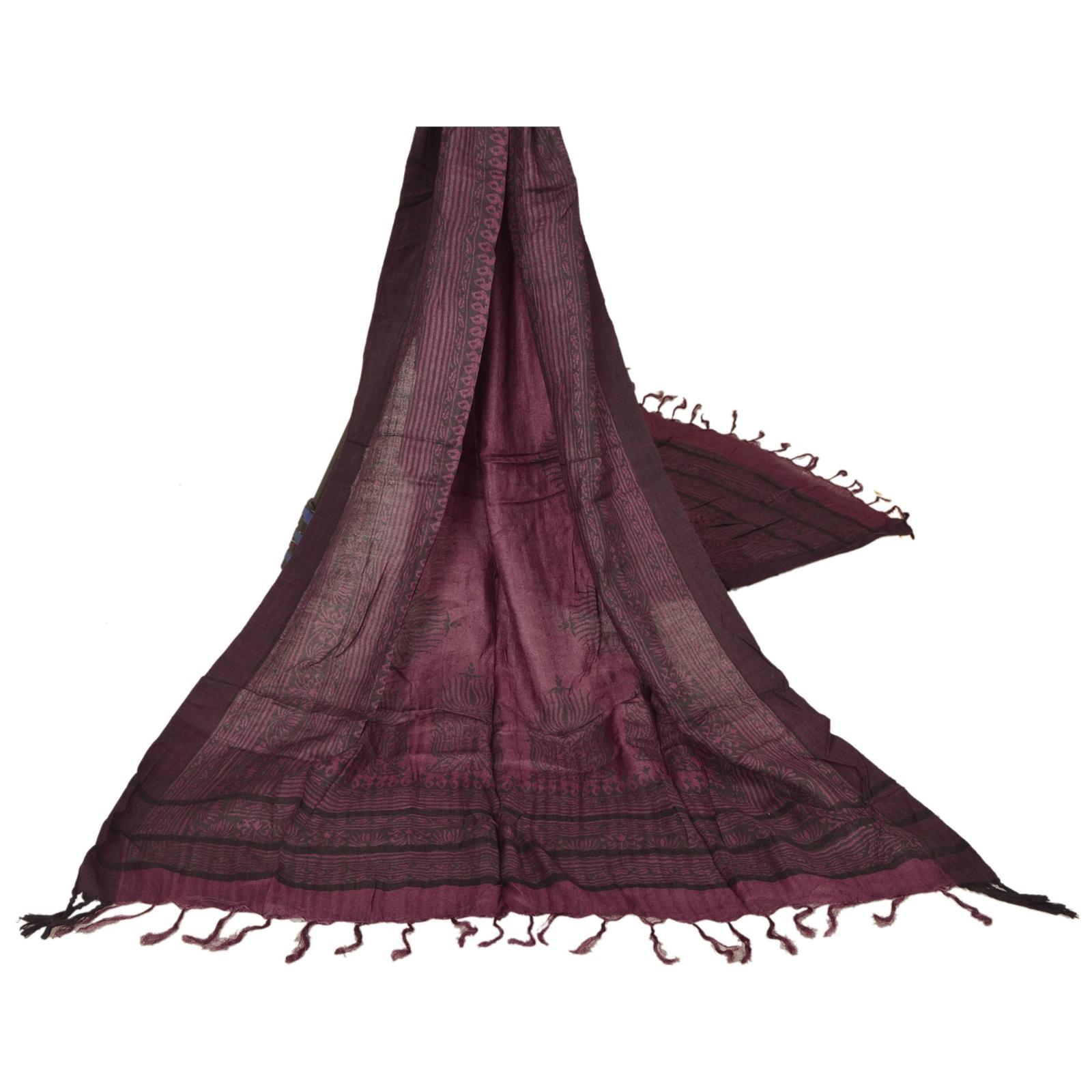 b68c5a9b6ba Details about Sanskriti Vintage Dupatta Long Stole Pure Woolen Shawl  Printed Purple Scarves