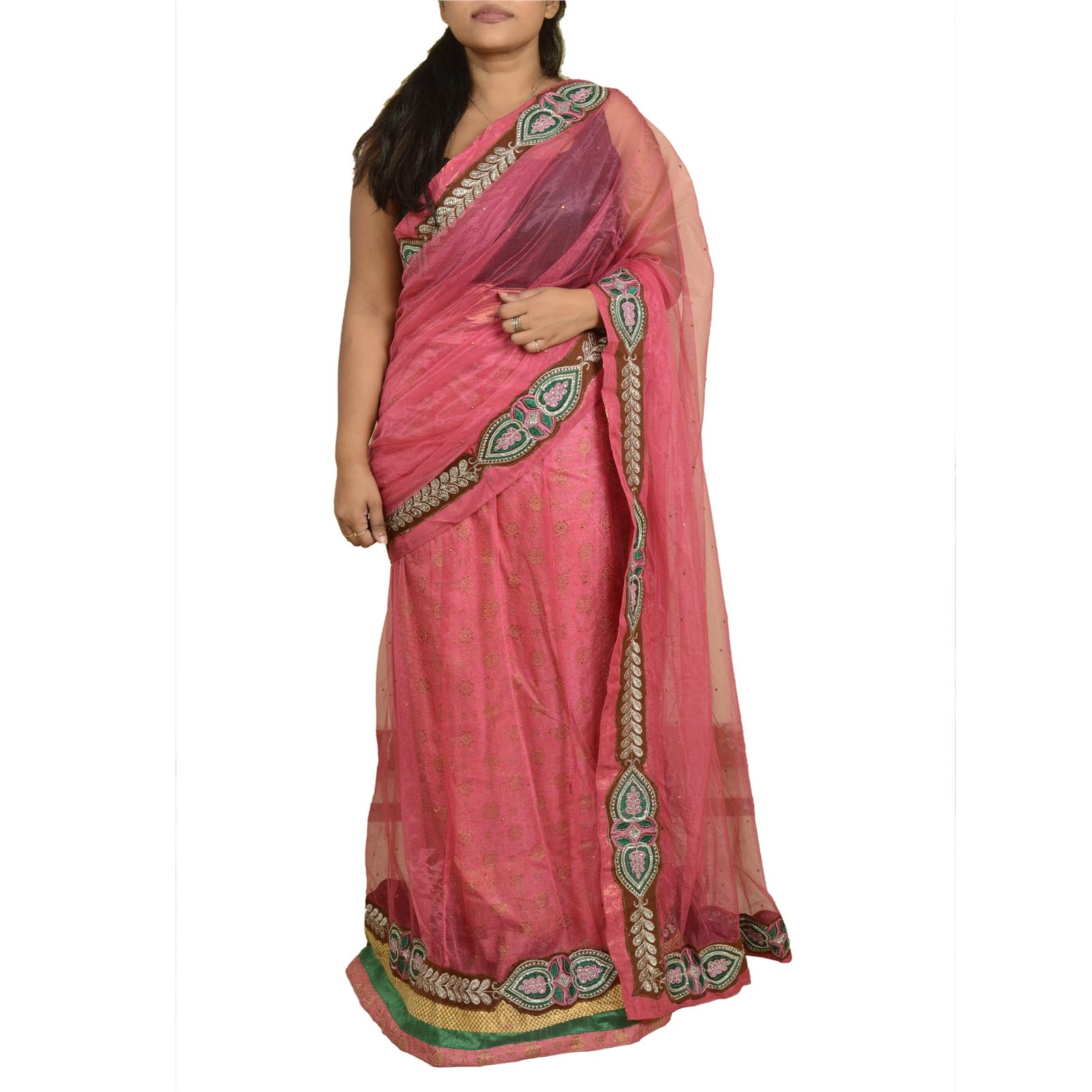 vintage sari beaded georgette fabric saree indian