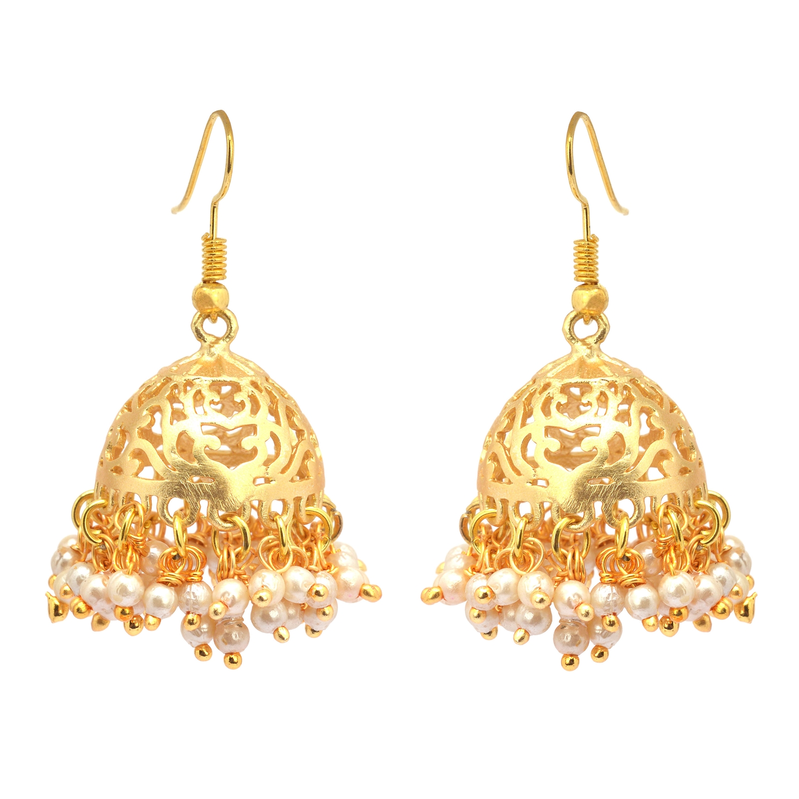 Zephyrr Traditional Gold Tone Lightweight Jhumki Earrings with ...