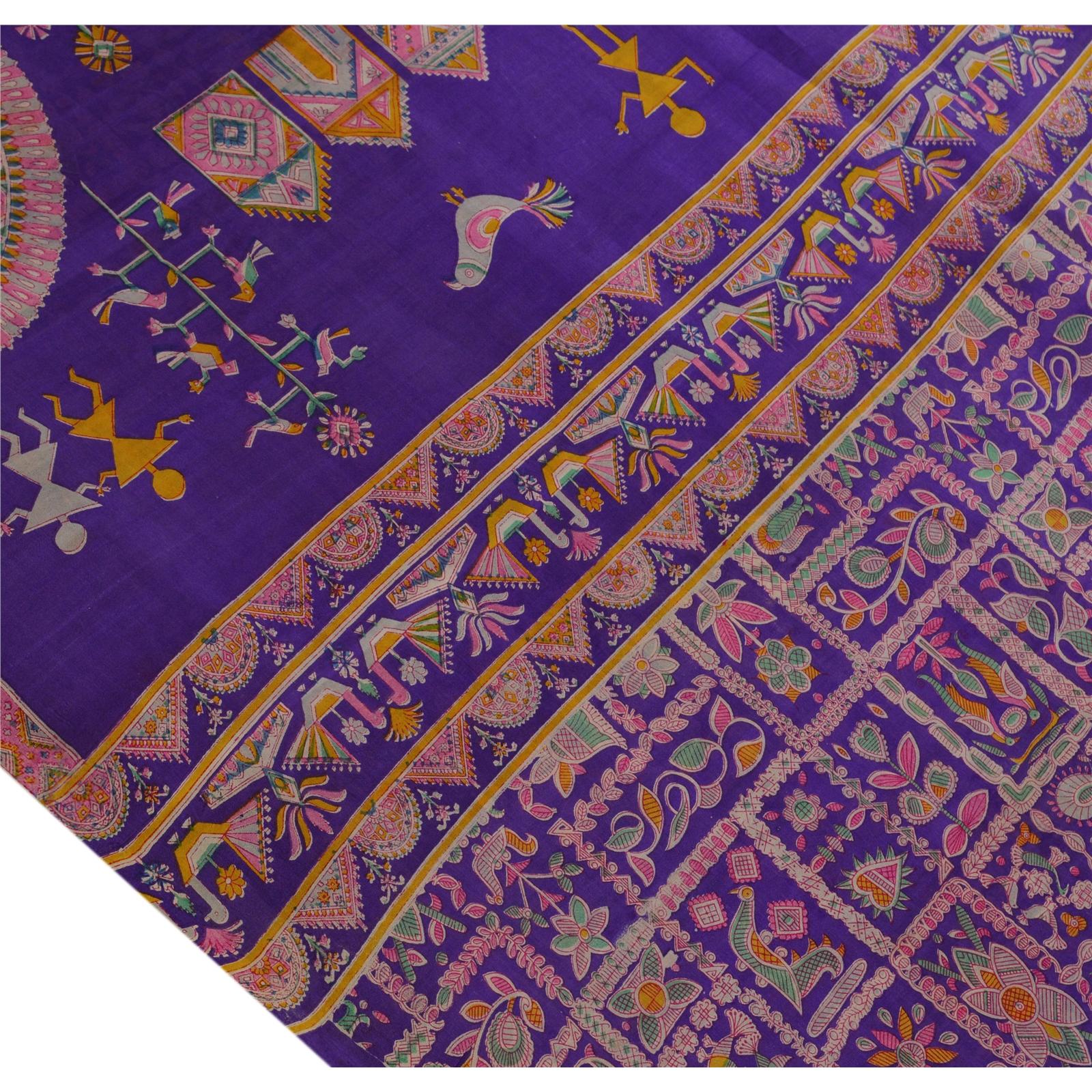 Vintage Indian Warli Printed Saree 100 Pure Silk Craft