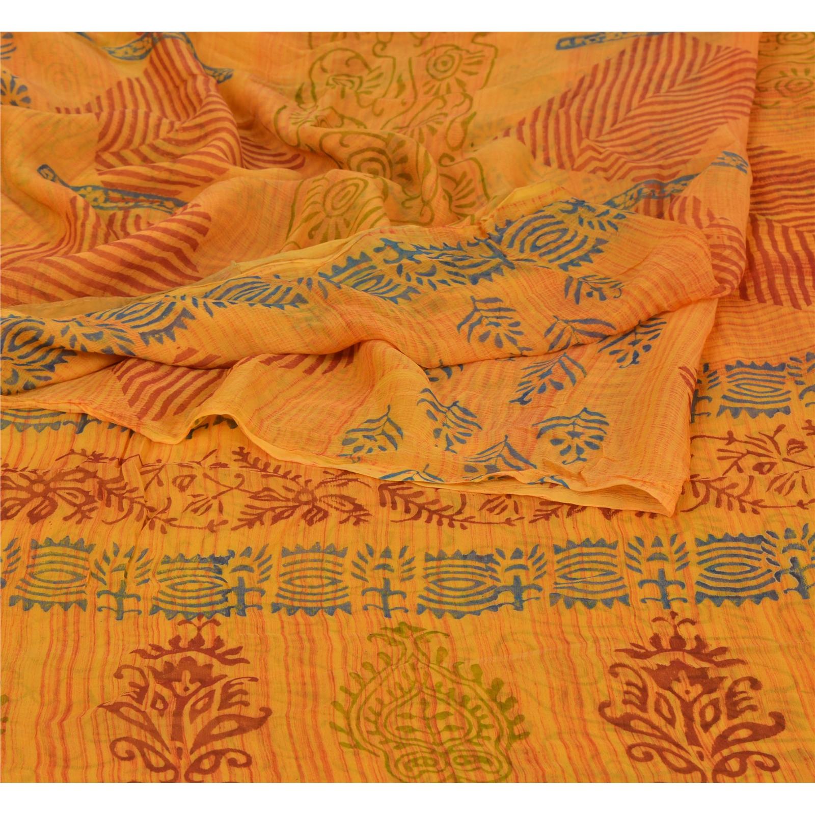 indian Vintage  Saree Blend Georgette Printed 5 Yard Sari Craft Fabric