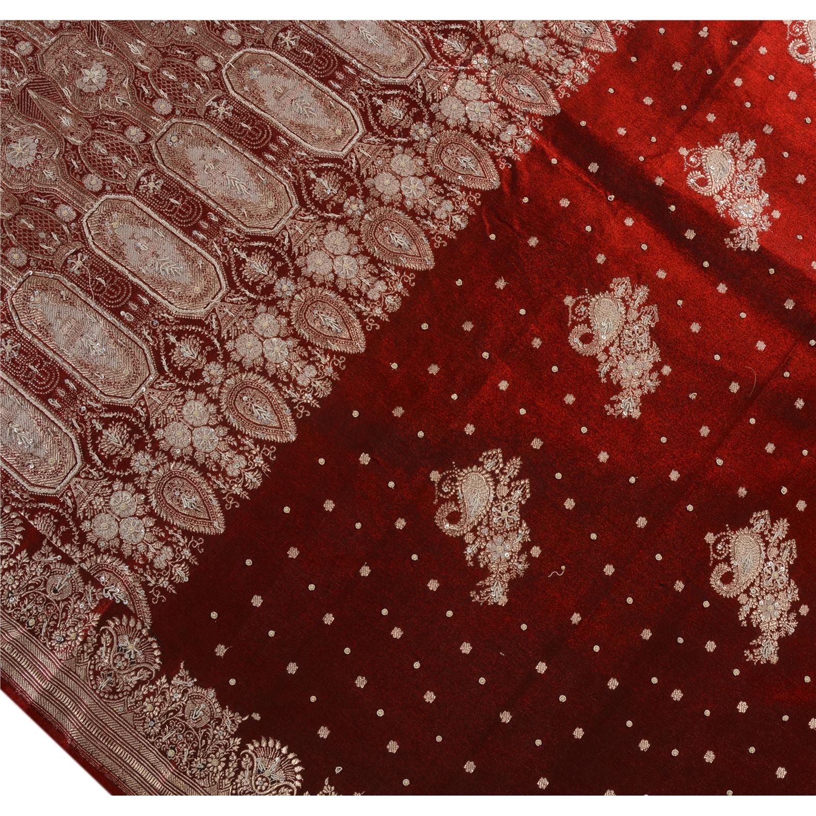 Vintage saree art silk hand embroidery woven brocaded