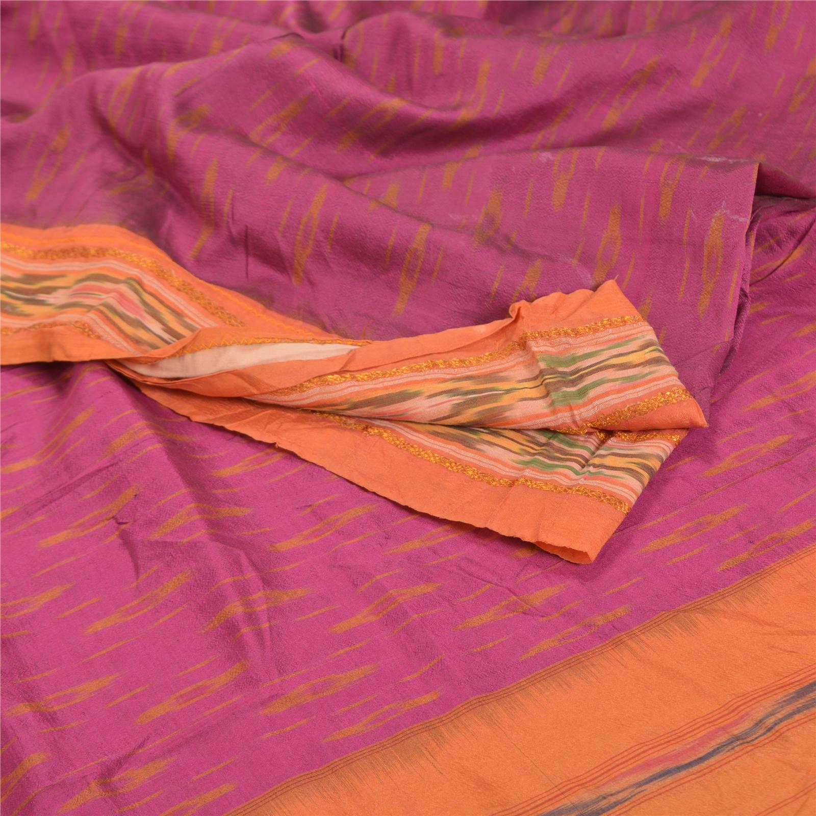 Vintage Sari 100/% Pure Silk Orange Sarees Printed Indian 6 yard Craft Fabric
