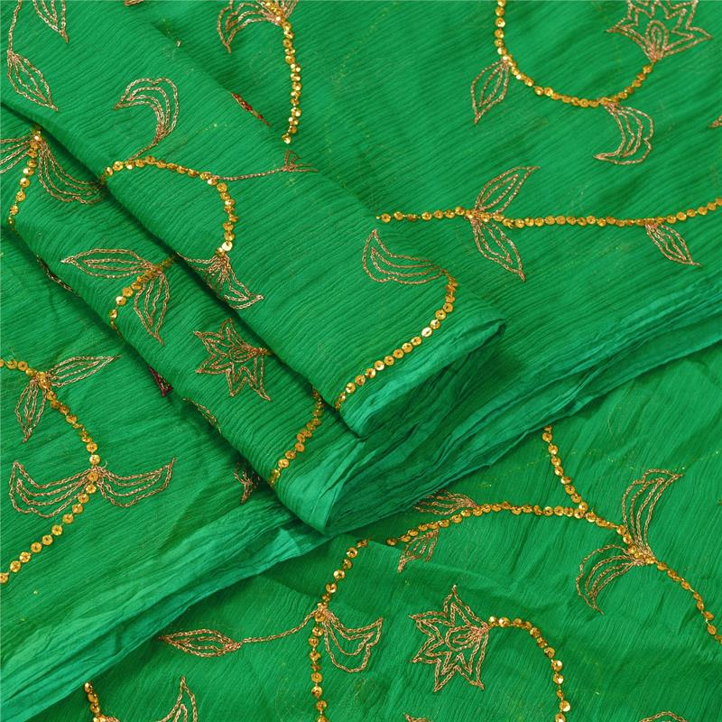 Tcw-Vintage-Dupatta-Long-Stole-Chiffon-Silk-Green-Hand-Beaded-Wrap-Veil thumbnail 9