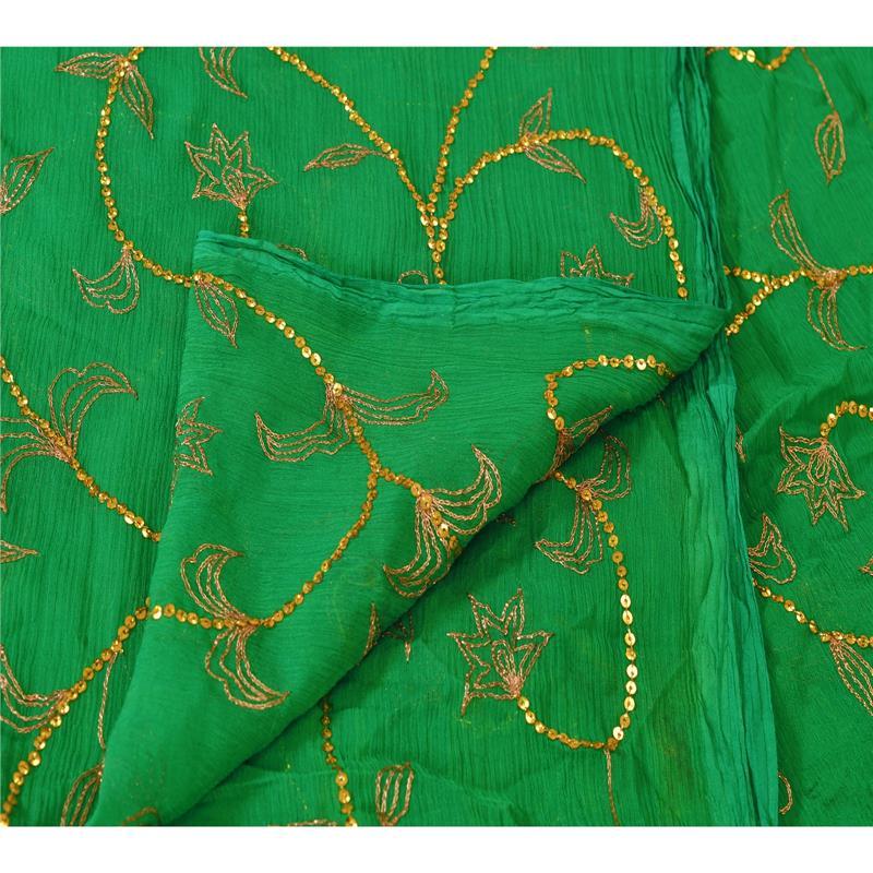 Tcw-Vintage-Dupatta-Long-Stole-Chiffon-Silk-Green-Hand-Beaded-Wrap-Veil thumbnail 8