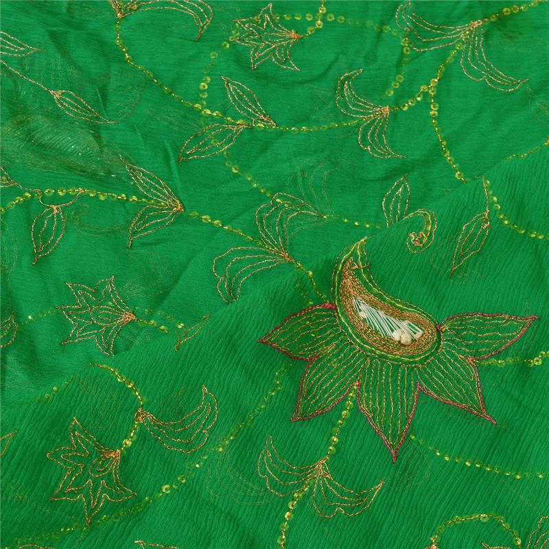 Tcw-Vintage-Dupatta-Long-Stole-Chiffon-Silk-Green-Hand-Beaded-Wrap-Veil thumbnail 5
