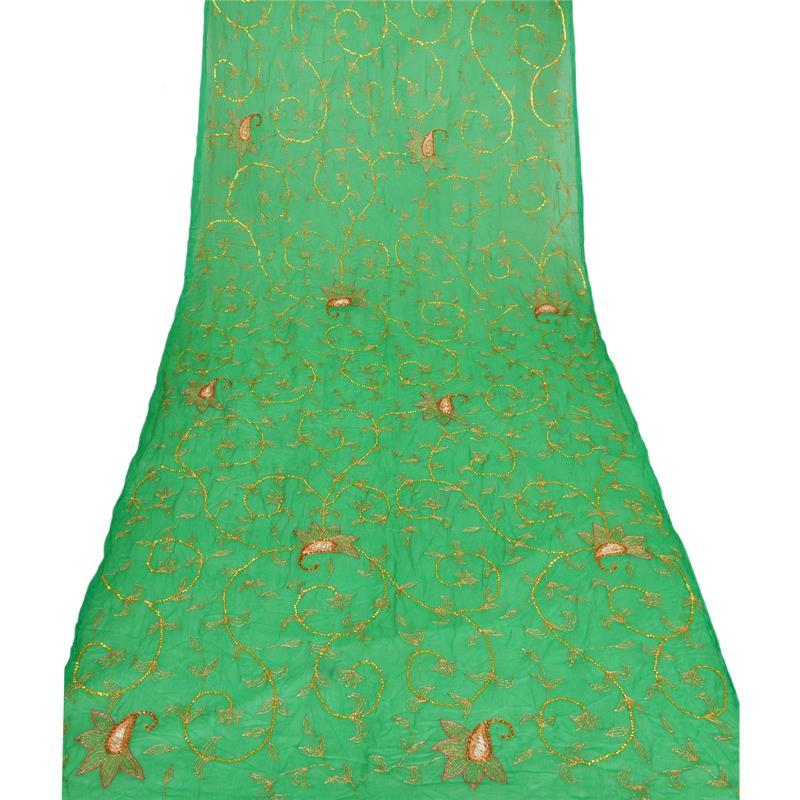 Tcw-Vintage-Dupatta-Long-Stole-Chiffon-Silk-Green-Hand-Beaded-Wrap-Veil thumbnail 2