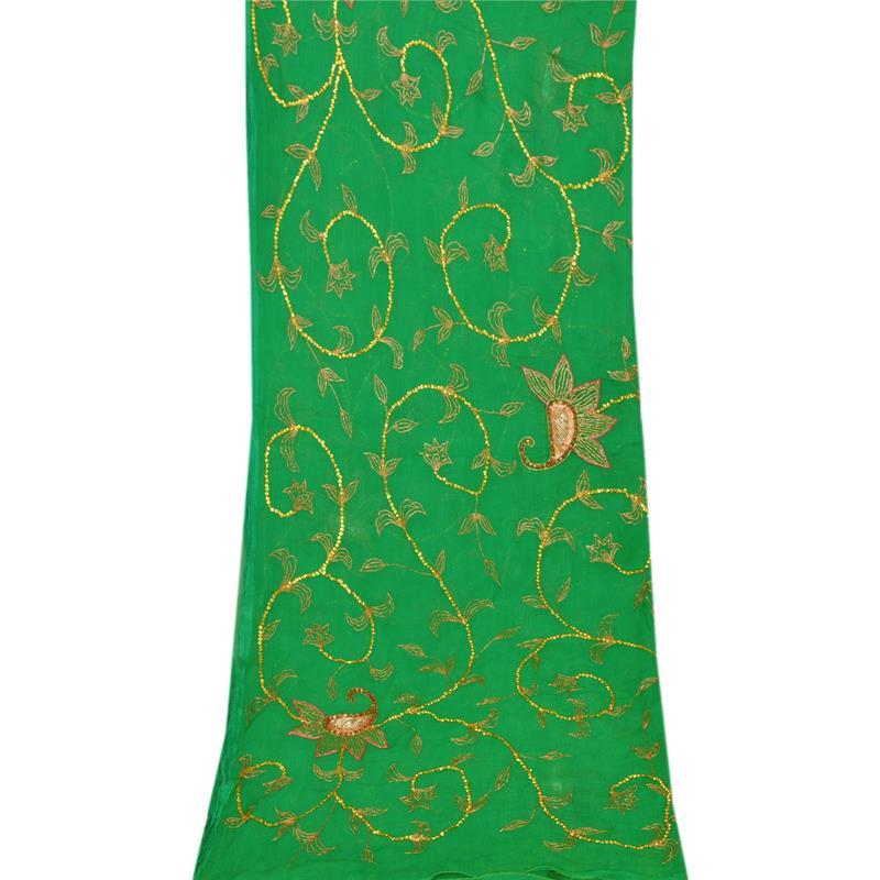 Tcw-Vintage-Dupatta-Long-Stole-Chiffon-Silk-Green-Hand-Beaded-Wrap-Veil thumbnail 7